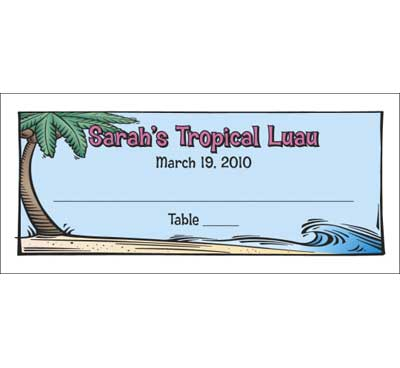 Luau Table Seating Card / A tropical seating card great for your Luau theme party