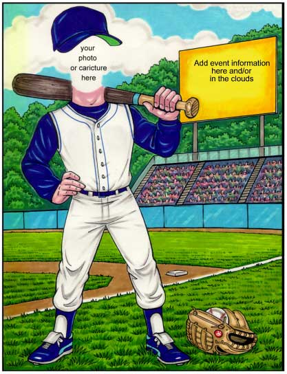 Baseball Semi Custom Caricature / Use this invitation and your party will be a home run.