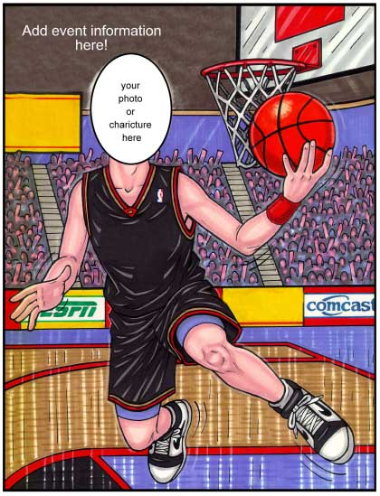 Basketball Semi Custom Caricature / You shoot. You score with this great semi custom basketball invitation.