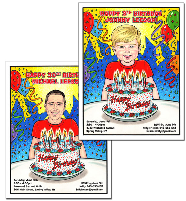 Birthday Semi Custom Caricature, Male / Add a photo face or a caricature face and customize this special birthday invitation!