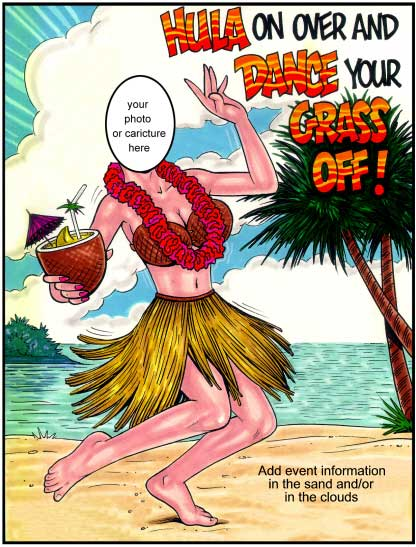 "Beach Female Semi Custom Caricature / ""Dance your grass off!"" makes me laugh."
