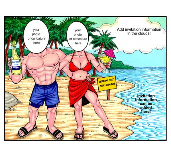 Beach Couple Semi Custom Caricature, Tropical Drinks / Let the world know how good you look in your bathing suits!