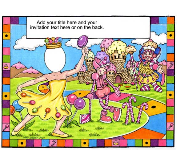 Candyland Semi Custom Caricature / Invite your guests to a sweet, delicious and wonderful world.