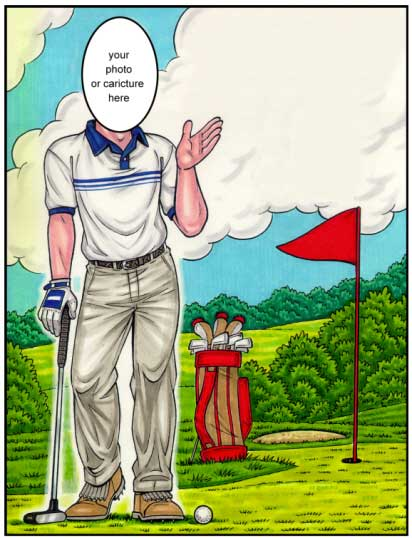 Golf Semi Custom Caricature / Perfect for even the most serious golfer.