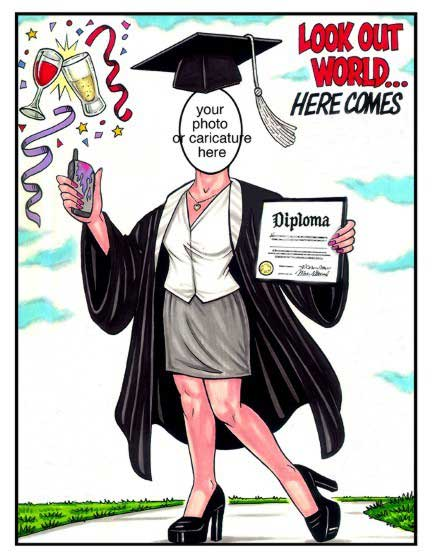 Graduation Semi Custom Caricature, Male / She did it! She graduated! Let's celebrate!