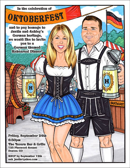 Oktoberfest Caricature, Semi Custom / Lederhosen, frauleins, beer and polkas.Let the party begin!