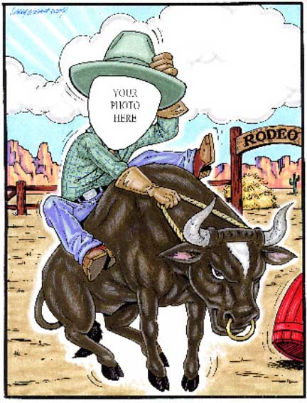 Western Rodeo Semi Custom Caricature / Yippe-Yi-Yay! Ride 'em cowboy.
