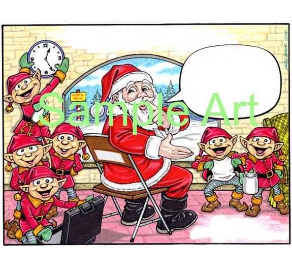Christmas Semi Custom Caricature / Santa gathers the elves to wish everyone a Merry Christmas!