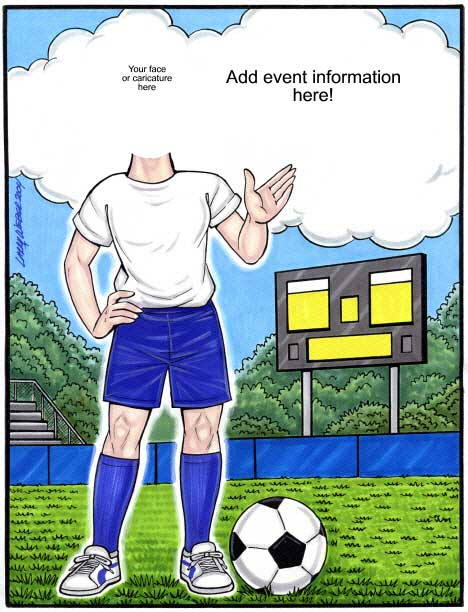 Soccer Semi Custom Caricature / She shoots. She scores. GOALLLLLLLLLLLLLL!