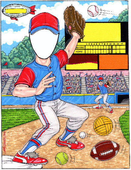 Sports Lover Semi Custom Caricature / So many sports and so little time. Let's play two!
