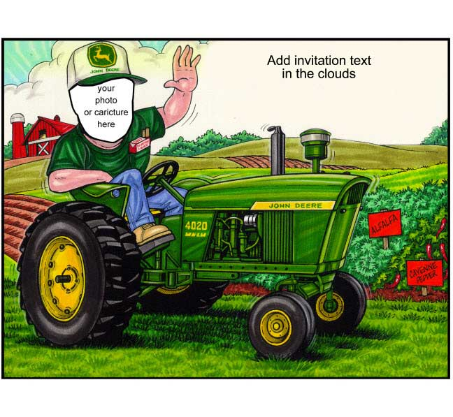 Tractor Semi Custom Caricature / The crop's in and the animals fed. Let's have a party!