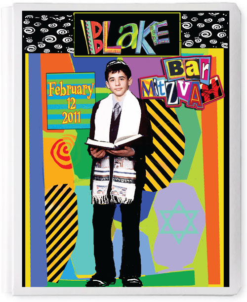 Personalized 3D Basic Sign In Book, Bar Mitzvah Boy, Mod