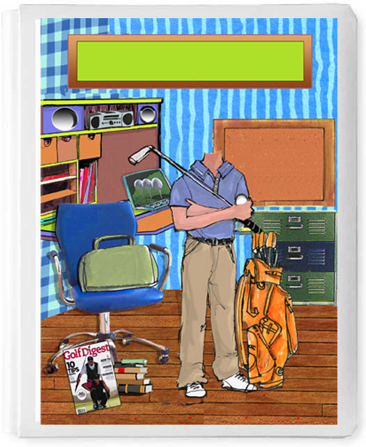 Personalized 3D Sign In Book, Golfer Boy in Room