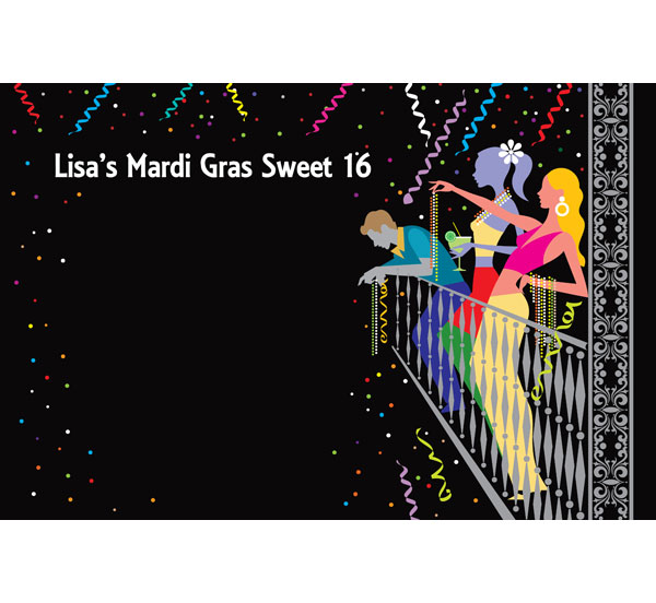 A Mardi Gras Balcony Sign in Board / Let your guests leave a note!