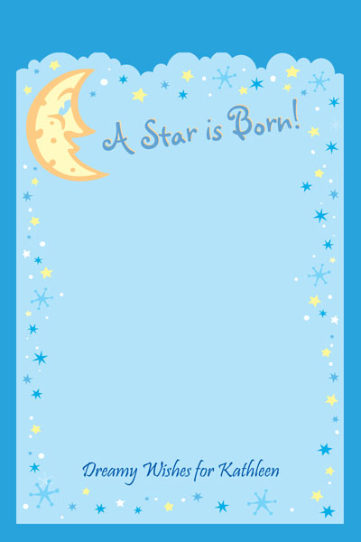 Baby Shower Stars and Moons Sign In Board