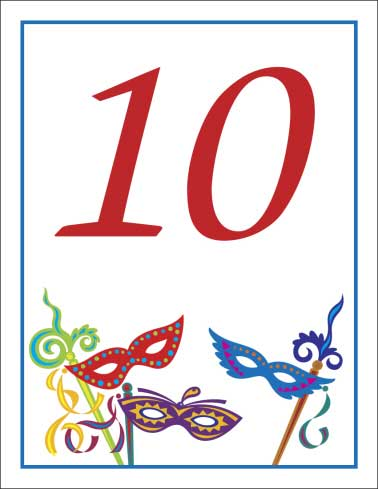 Mardi Gras Masquerade Masks Table Number