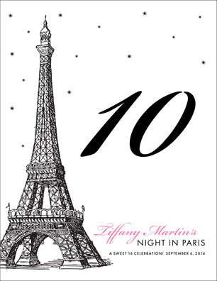 Paris Party Theme Table Number