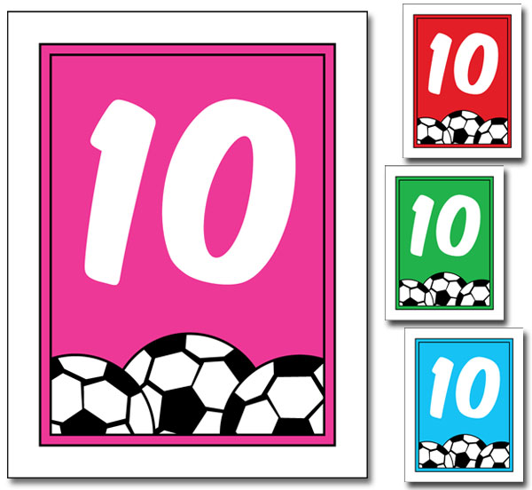 Soccer Girl Table Number