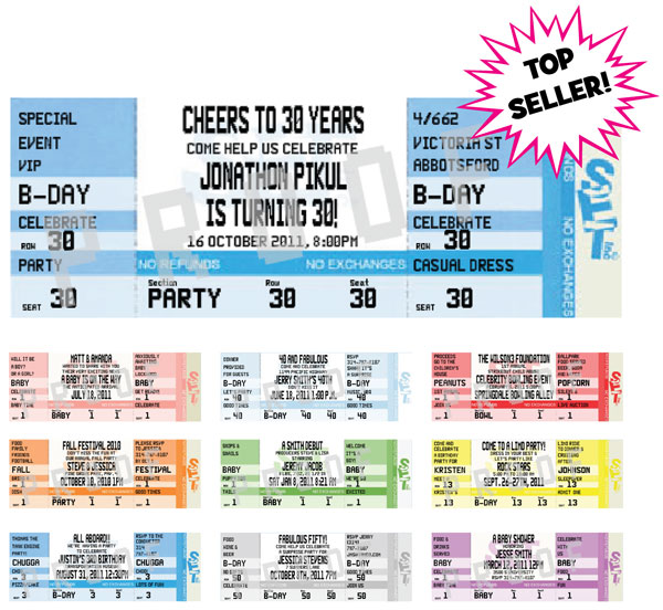 Authentic Event Ticket Invitation / Designed to look like real tickets! Your event will be the hottest ticket in town.