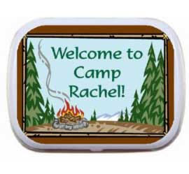 Going Camping Theme Mint and Candy Tin / A delicious summer party favor