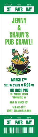 St. Patricks Day Authentic Event Ticket Invitation / You'll need a ticket to get into this St. Patrick's Day party!