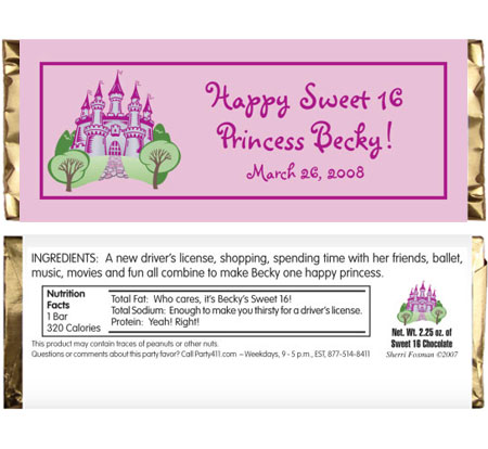 Fairy Tale Princess Theme Candy Bar Wrapper / A royal party favor!