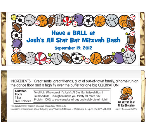 Sports Balls Theme Candy Bar Wrapper / Great for any sports celebration!