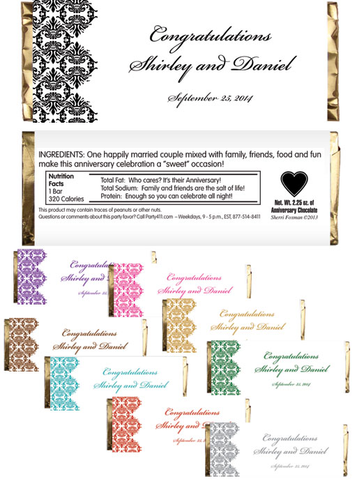 Classic Damask Theme Candy Bar Wrapper