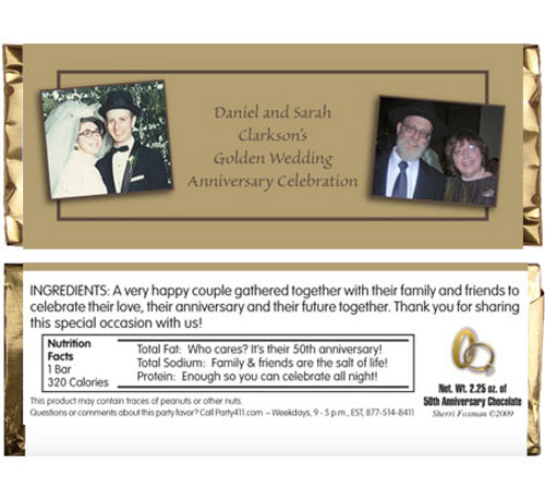 50th Anniversary Theme Candy Bar Wrapper / A Golden Anniversary candy bar favor