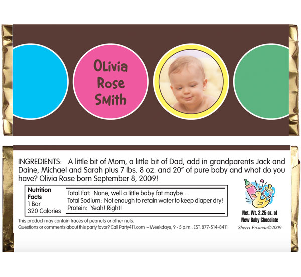 Baby Circles Candy Bar Wrapper / A delicious baby announcement