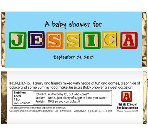 Baby Blocks Candy Bar Wrapper / The ABCs of party favors