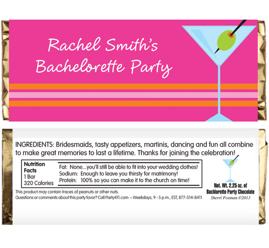 Bachelorette Martini Theme Candy Bar Wrapper / A fun bachelorette party candy favor