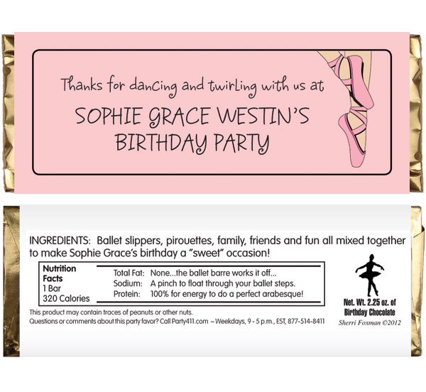 Prima Ballerina Ballet Theme Candy Bar Wrapper / Keep them on their toes with this party favor.