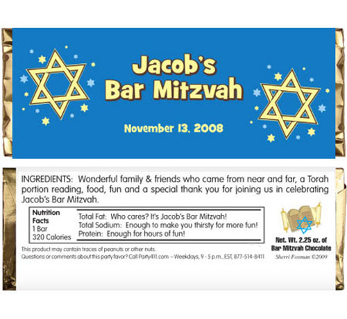 Bar Mitzvah Stars Candy Bar Wrapper