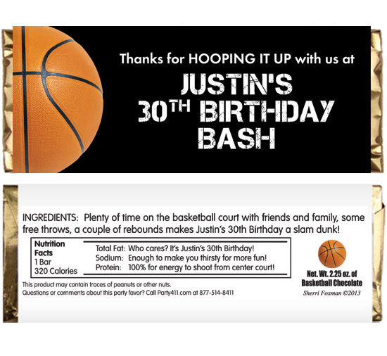 Basketball Party Theme Candy Bar Wrapper