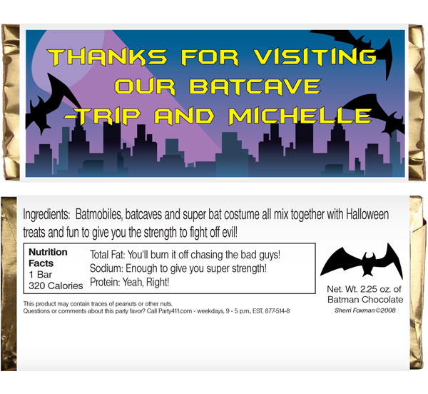 Batman Party Candy Bar Wrapper / Great for a Batman party