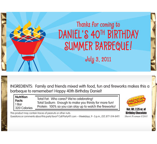 Barbecue Theme Candy Bar Wrapper / A fun barbecue party favor