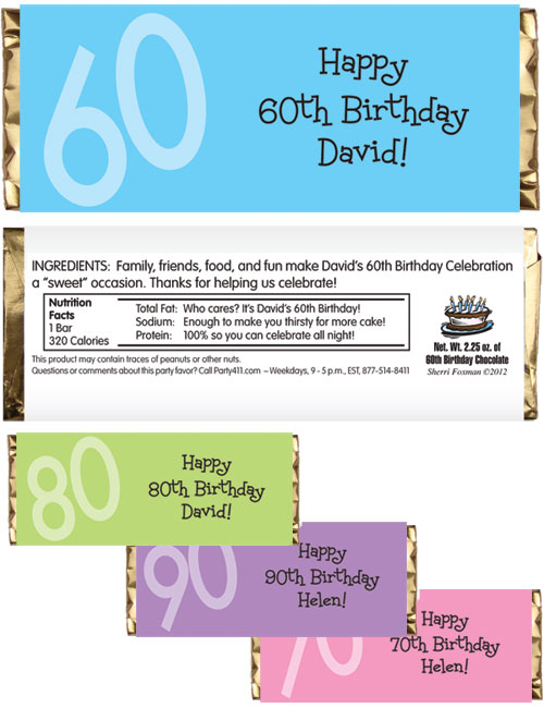 Birthday Age Theme Candy Bar Wrapper