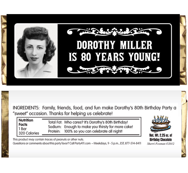 A Vintage Birthday Milestone Photo Theme Candy Bar Wrapper