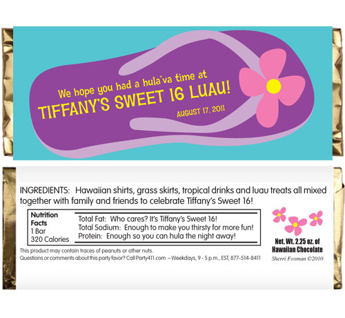 Flip Flop Theme Candy Bar Wrapper / A flip flopping good favor!