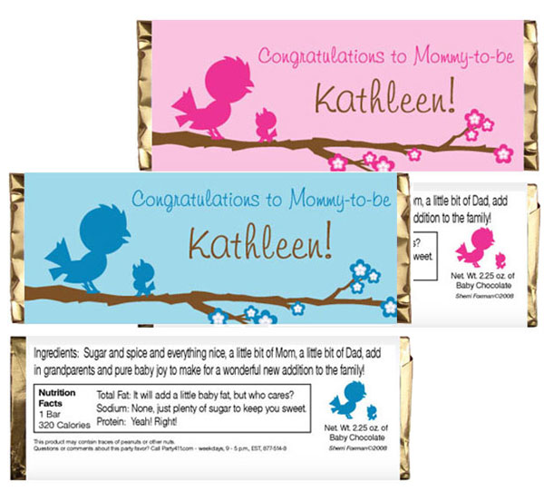 Baby Bird Candy Bar Wrapper / A candy bar is a perfect sweet favor