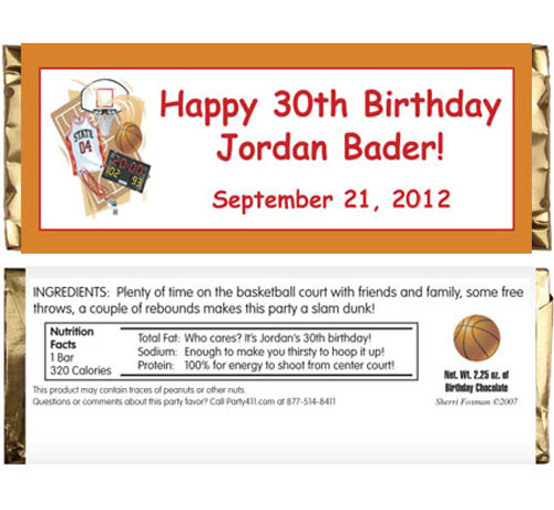 Basketball Gear Candy Bar Wrapper / An overtime party favor for your guests.