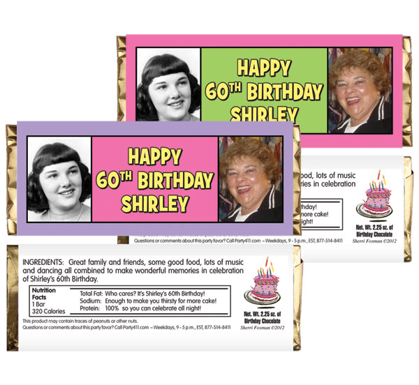 Birthday Double Photo Pink Theme Candy Bar Wrapper