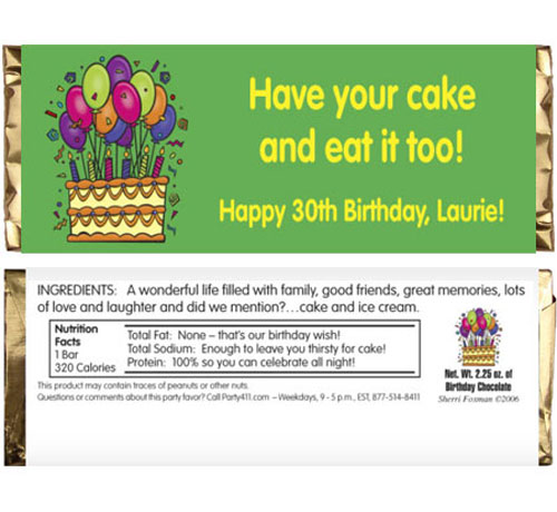 Cake on your Birthday Theme Candy Bar Wrapper