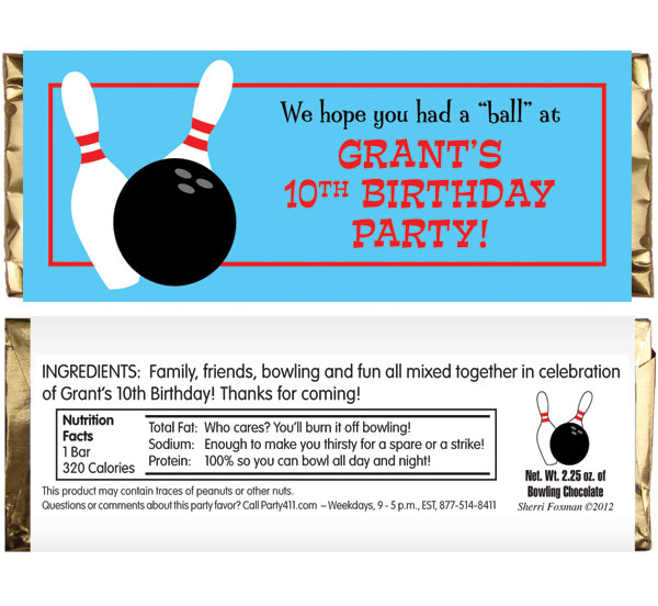 Bowling Theme Candy Bar Wrapper / They had a ball at your party!