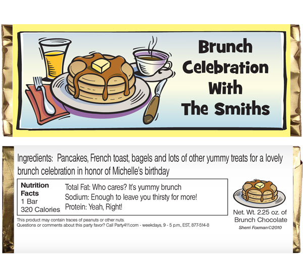 Brunch Theme Candy Bar Wrapper / Send your guests home with a pancake themed party favor