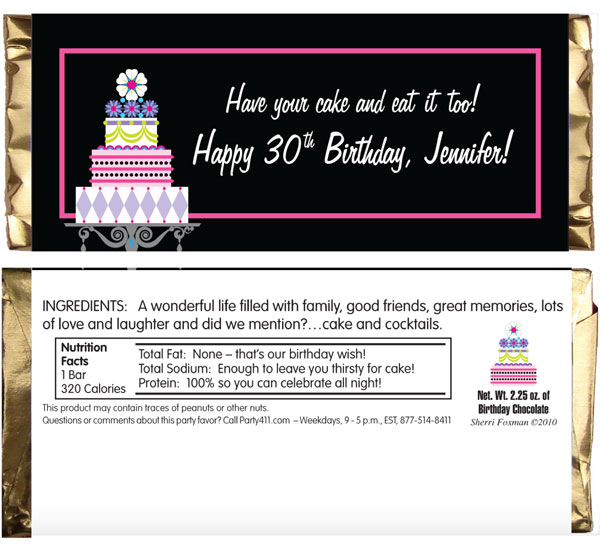Birthday Cake Theme Candy Bar Wrapper / Great for a birthday or bridal event