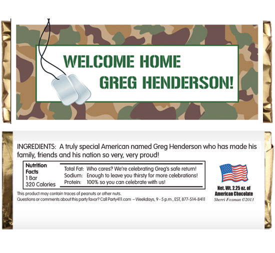 Camouflage Theme Candy Bar Wrapper / A great welcome home favor
