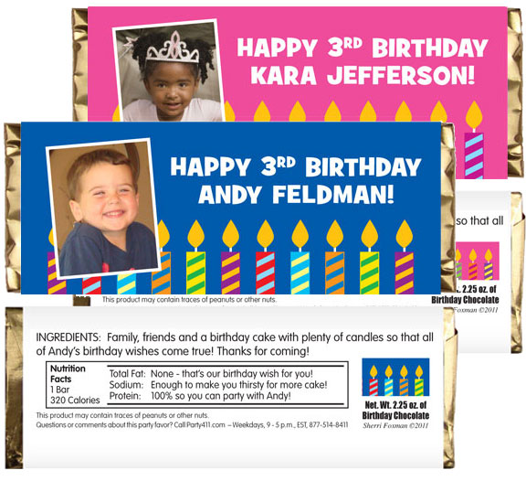 Birthday Candles Theme Photo Candy Bar Wrappers