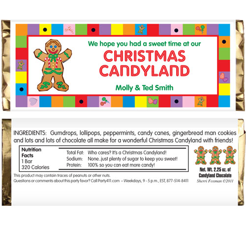 Christmas Candyland Theme Candy Bar Wrapper / Celebrate Christmas with a candyland theme party